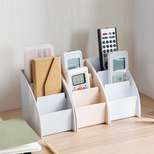 Stationery Organizer Storage-Box Remote-Control-Holder Tea-Table Desktop Office PP 3-Grid