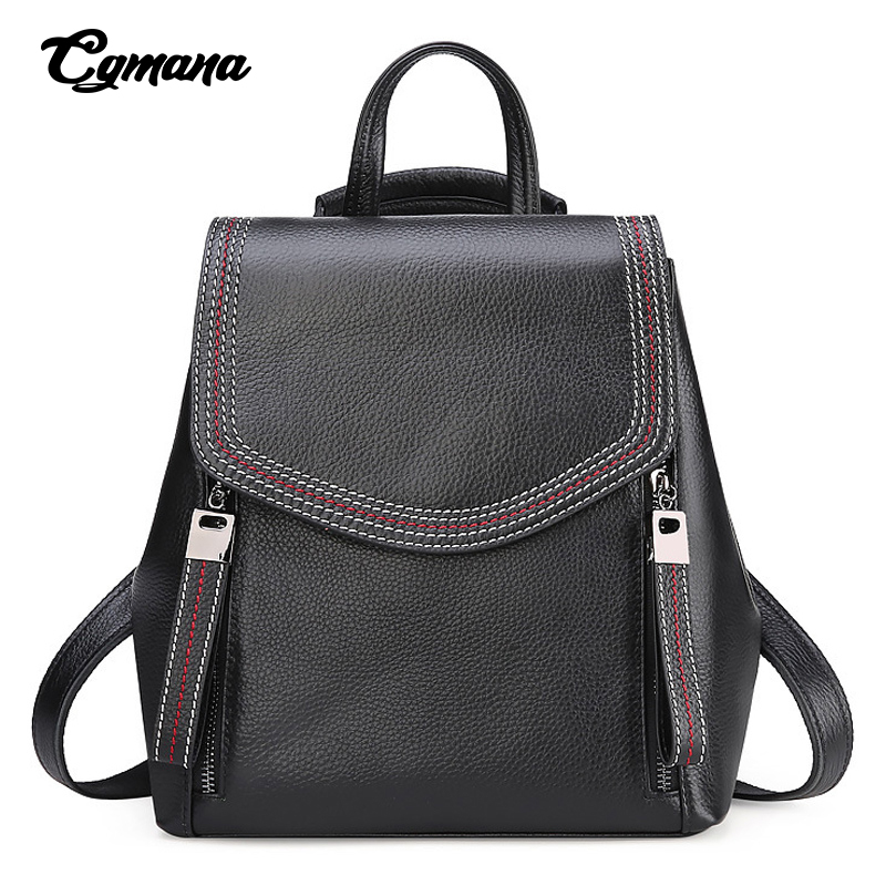 Real Cowhide Backpack 2019 Large Capacity Women 100% Genuine Leather Lady Travel Bag Daily Casual Knapsack Schoolbag Female Designer Bolsas