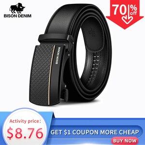 Image 1 - BISON ceinture en cuir véritable pour homme, ceinture automatique, de styliste, de bonne qualité, de mode, N71416
