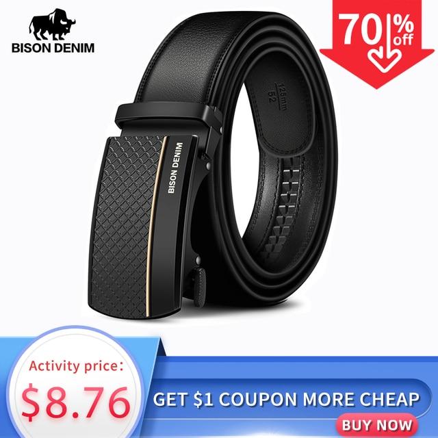 BISON ceinture en cuir véritable pour homme, ceinture automatique, de styliste, de bonne qualité, de mode, N71416