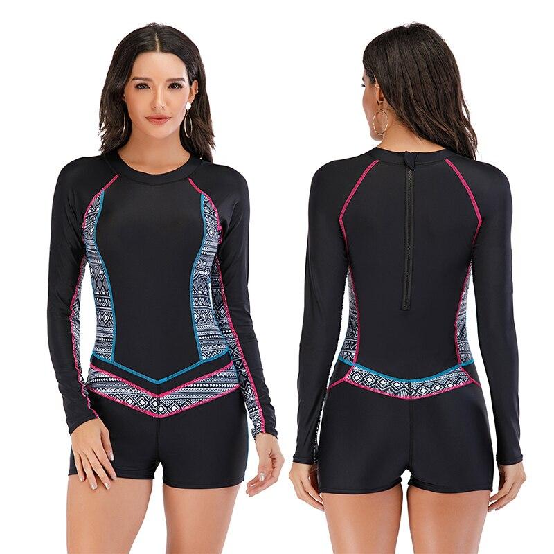 Mesh Front Long Sleeve Swimwear Sport Surfing Swimming Suit 12