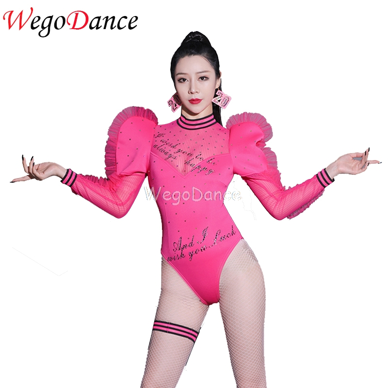 New Women Rhinestone Bodysuit Costume Sexy Club Leotard Lady Gaga Jazz Stage Costumes Pink Water Sleeve Dance For Girls Singer