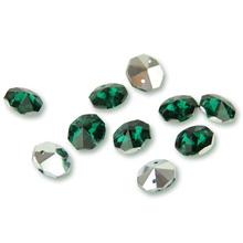 14mm ciemnozielone ze srebrną tylna szyba ośmiokątne koraliki w 2 otworach na kryształowe girlandy na żyrandol pryzmat części tanie tanio CN (pochodzenie) Kryształowy żyrandol Crystal octagon beads Glass Octagon Beads Glass Crystal Dark Green With Silver Back