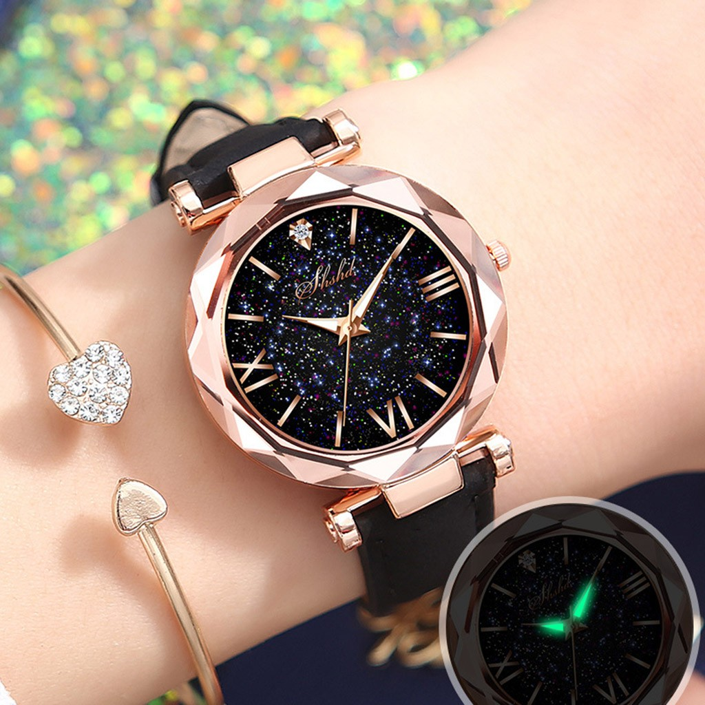 Fashion Roman Scale Watch Women's Quartz Diamond Wristwatch Stars Little Point Frosted Belt Watch Men and Women Casual Watch 1