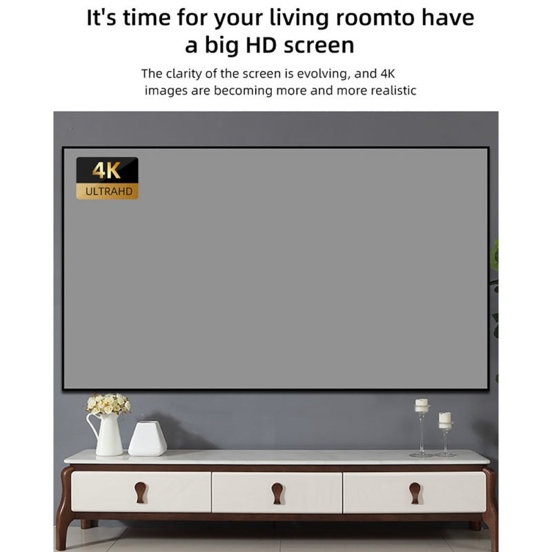 60 Inch Projector Folding Screen Portable Home 3D HD Metal Light-proof Projector Screen Home Audio