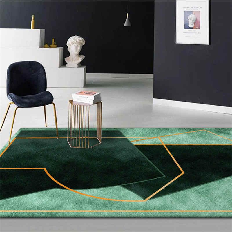 Carpets For Living Room Dark Green Irregular Geometric Pattern