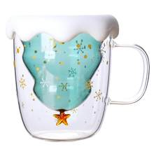 Creative 3D Transparent Double Anti-Scalding Glass Christmas Tree Star Cup Coffee Cup Milk Juice Cup Valentine's DayGift(China)