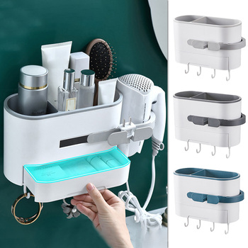 Bathroom Shelves Hair Dryer Rack Wall Mounted Hair Dryer Hanger Bath Storage Rack Hair Dryer Shelf Organizer for Bathroom ledfre wall hair dryer rack bathroom hair dryer storage rack free of punch wall mounted hair dryer rack for bathroom