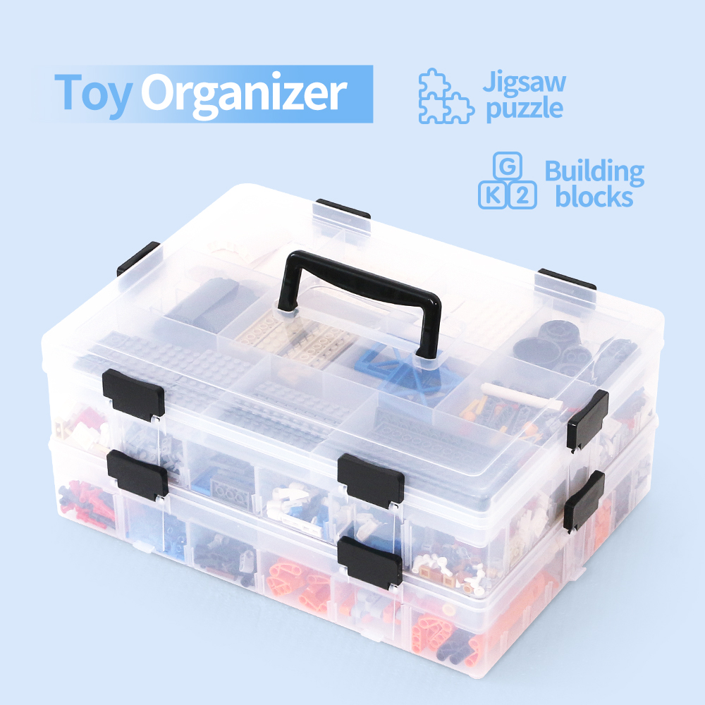 Organizador de juguetes, contenedores Lego, cajas de almacenamiento de bloques de construcción, organizador para juguetes, almacenamiento de plástico para niños, herramientas de joyería, caja de piezas 41x22,6 cm 5 agujeros anillo ranuras de cuerda gancho organizador de bufandas bufanda Wraps chal almacenamiento suspensión anillo gancho para corbatas cinturón Rack