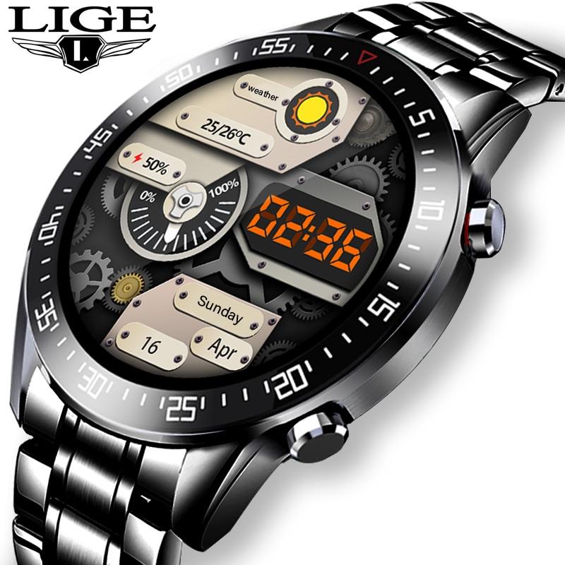 LIGE 2021, новинка, полный круг, сенсорный экран, мужские Смарт часы, IP68, водонепроницаемые, спортивные, фитнес часы, мужские Роскошные Смарт часы...
