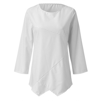 Jocoo Jolee Spring Plus Size Striped Long Sleeve V Neck Linen Baggy Blouse Shirt Ladies Summer Tunic Tops Casual Loose Shirt 5