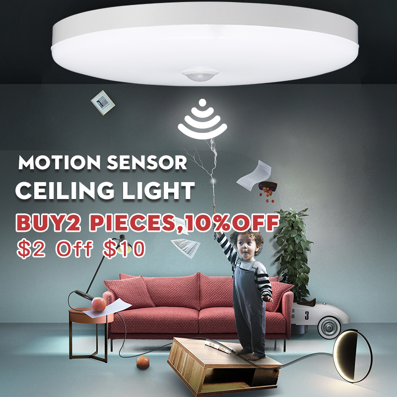 Led Night Light Lamp With Motion Sensor Light 5W 7W 9W 12W 18W E27 220V PIR Sensor Bulb Led Ceiling Lamp For Home Stair Hallways