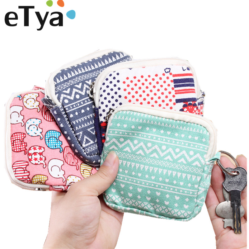 ETya Canvas Zipper Coin Wallet  Clutch Lady Women Money Wallet  Purse Pocket Pouch Keys Sanitary Napkin Card Holder Bag Case