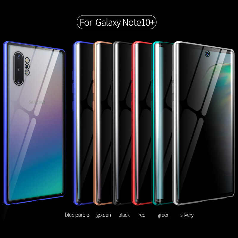 Tongdaytech Magnetik Tempered Glass Case untuk Samsung S8 S9 S10 S20 Plus S20U Metal Magnet Kebijakan Cover untuk Samsung Catatan 10 9 8