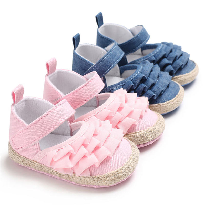 Hot Sale Newborn Girl Baby Canvas Sandals Toddler Soft Cotton Comfort Fabric Princess Crib Baby Shoes  First Walkers Shoes