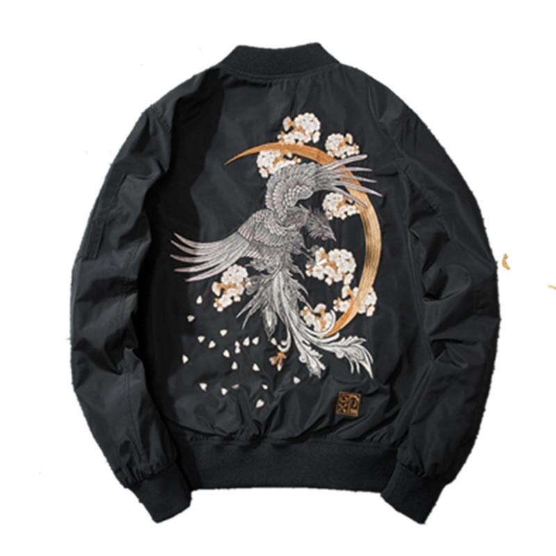 Black Men Autumn Parka Winter Warm Jacket Embroidery Phoenix And Flowers Flight Bomber Jacket Coat Male Padded Cotton Outwear Jackets     - title=