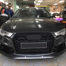 For RS6 Style Front Sport Hex Mesh Honeycomb Hood Grill Black for Audi A6/S6 C7 2012 2013 2014 2015 car-styling accessories