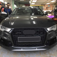 For RS6 Style Front Sport Hex Mesh Honeycomb Hood Grill Black for Audi A6/S6 C7 2012 2013 2014 2015 car styling accessories