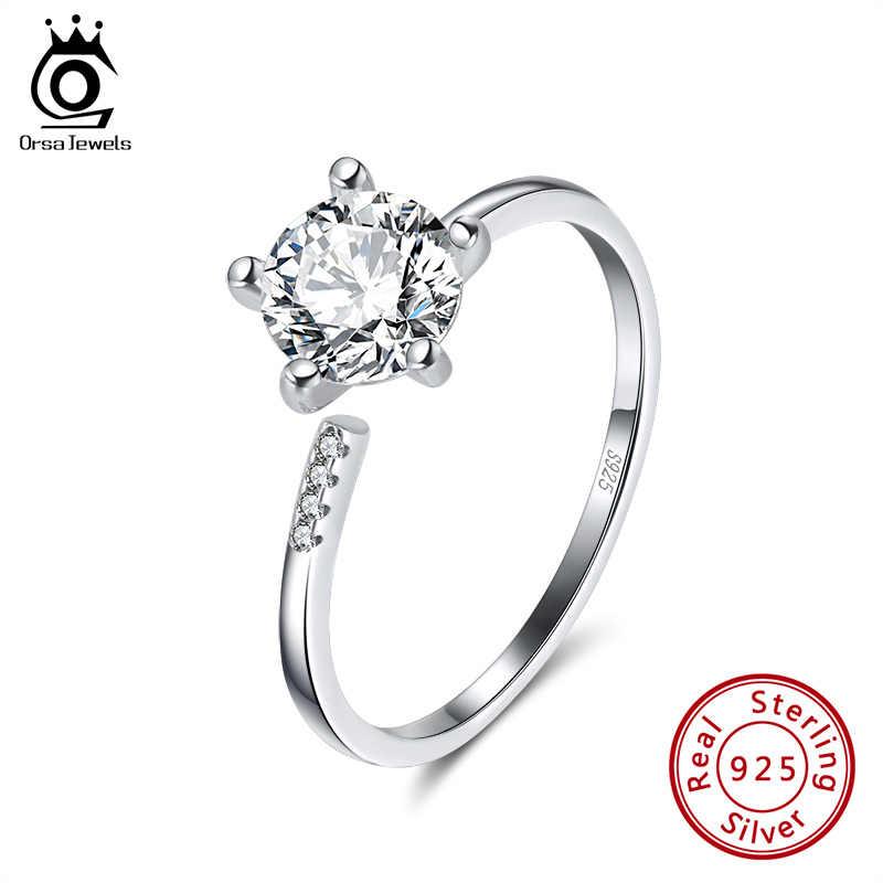 ORSA JEWELS 925 пробы серебряные кольца с большим кубическим цирконием женские регулируемые открытые Свадебные Кольца модные вечерние ювелирные изделия SR153