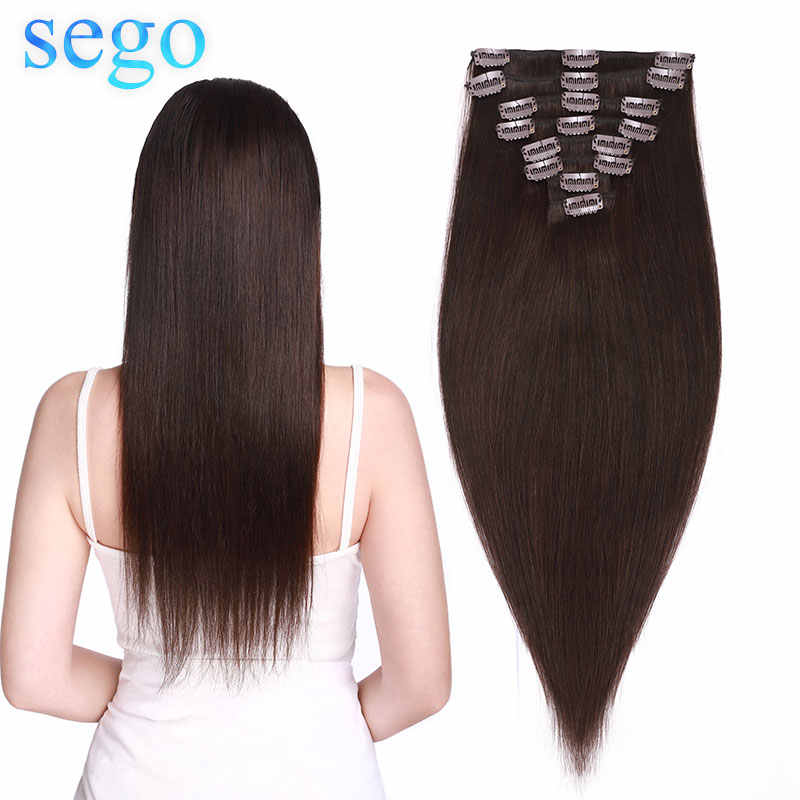 "Sego 8 ""-24"" 70G-120G Clip In Human Hair Extensions Straight 8 Pc Set machine Remy Clip In Braziliaanse Natuurlijke Haar Blonde Haar Clip"