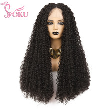 SOKU Middle Part Lace Front Wigs Long Kinky Curly W