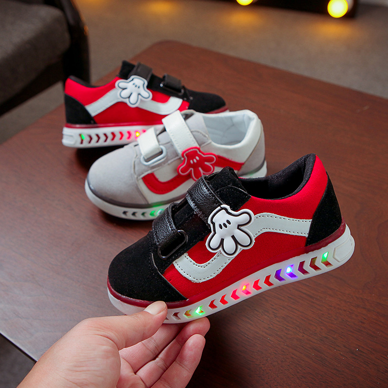 New 2020 Cartoon Finger LED Shoes Kids Cute Soft Baby Girls Boys Sneakers Lovely Hook&Loop High Quality Children Shoes
