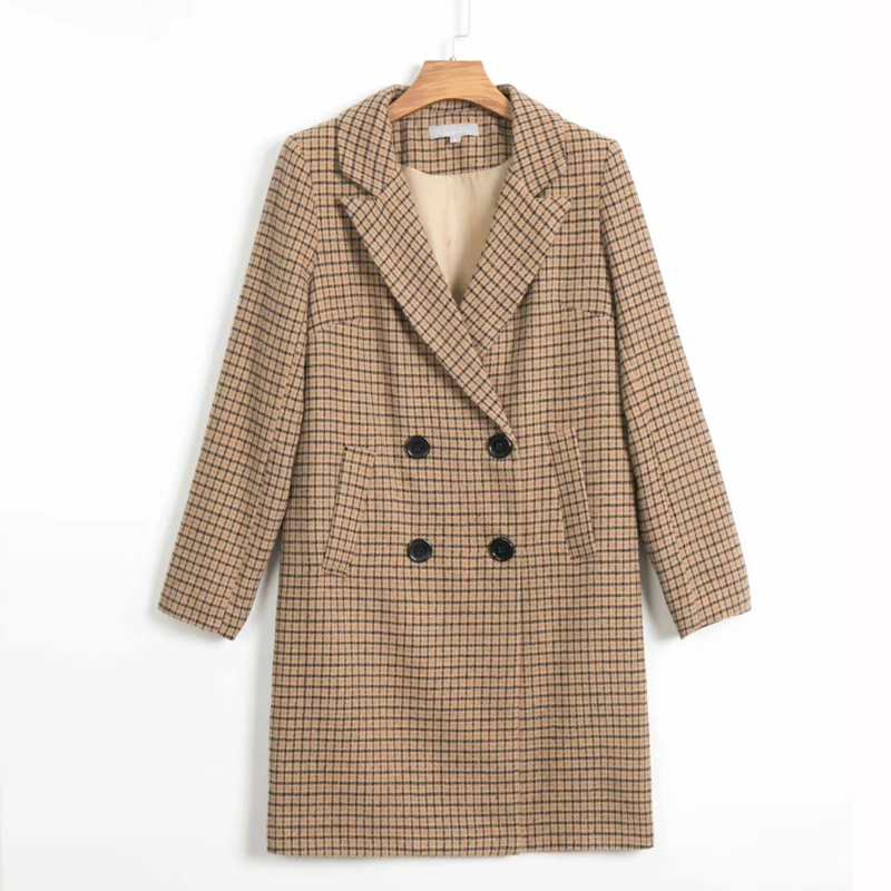 Casual retro long coat suit female 2019 new autumn double-breasted loose long-sleeved ladies blazer Office plaid jacket female