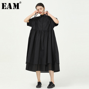 [EAM] Women Black Irregular Pleated Big Size Shirt Dress New Lapel Short Sleeve Loose Fit Fashion Tide Spring Summer 2020 1W101