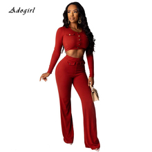 купить Autumn Knit Ribbed Solid Women Sets Casual Button Crop Top With Wide Leg Pants Two Piece Set Sexy Night Club Party Women Outfit по цене 1212.09 рублей