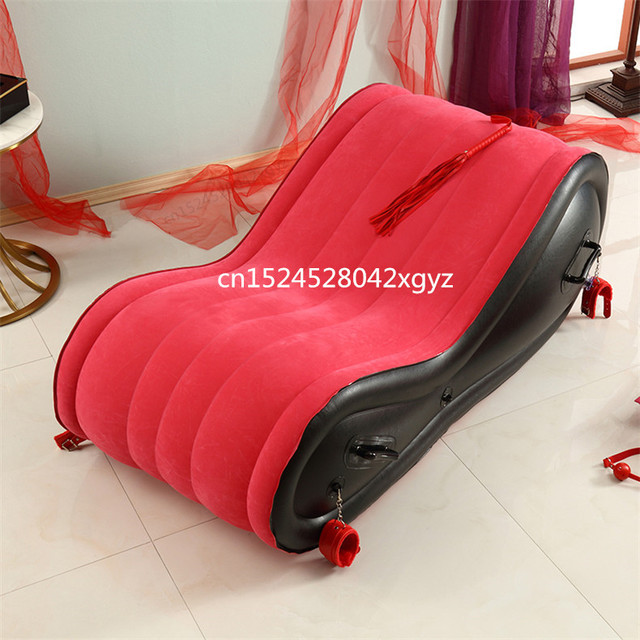 Inflatable Lounge Chair With 4 Handcuffs For Adult Couple Love Games Rocking Chair Sexy Red Folding Bed Sofas Velvet Soft 4