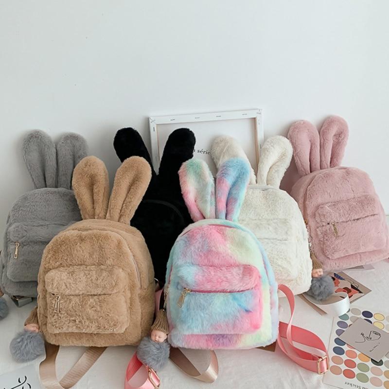 Cute Faux Fur Mini Backpack Rabbit Ear Gril Travel Shoulder Bags Fashion Plush Bagpack Rucksack School Bag for Girls 2020