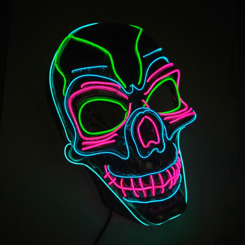 Scary Mask EL Wire Light Up Mask Halloween Cosplay Lighting Costume Mask For Festival Parties Glow In The Dark Mascarillas