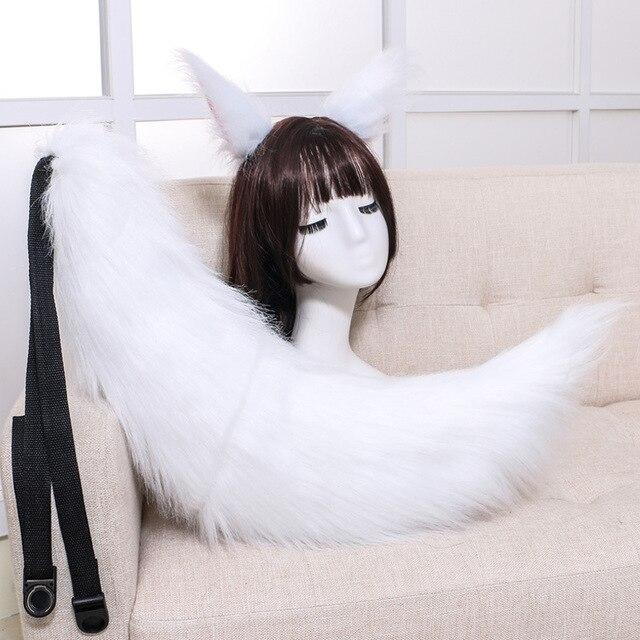 Conjunto de acessórios para cosplay de raposa, ola japonesa de pelúcia com cauda e orelhas de gato presente da festa,