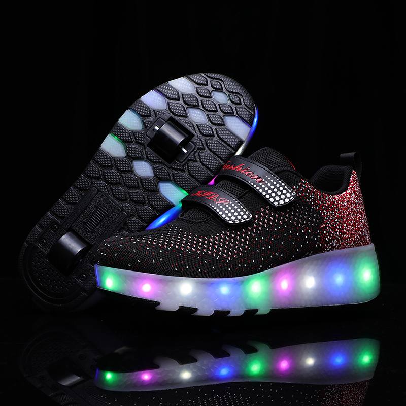 Heelys 2020 New USB Charge LED Colorful Children Kids Fashion Sneakers With Two Wheels Roller Skate Shoes Boys Girls Shoes