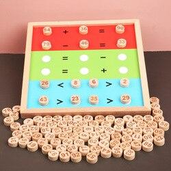 Educação precoce de madeira ajudas de ensino para entender números 1-100 correspondência número placa iluminismo quebra-cabeça jogo de mesa de madeira