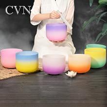 CVNC 1pc 8 Inch Third Eye Crown Root Sacral Solar Heart Throat Chakra Frosted Quartz Crystal Singing Bowl