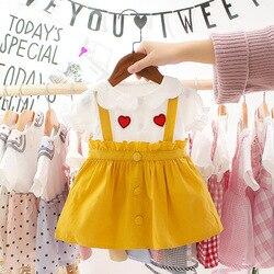 Bebê infantil vestido de verão meninas manga curta amor impressão babados vestido novo coreano dos desenhos animados falso vestidos de princesa de duas peças