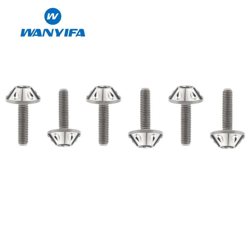 Wanyifa 6Pcs Umbrella Head Punching Titanium Bolt Screw <font><b>M5x20mm</b></font> for Bicycle Part Motorcycle Shell image