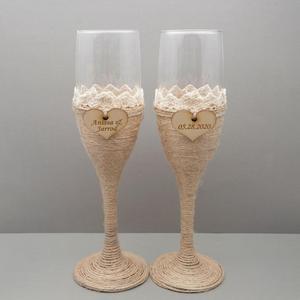 Image 2 - 2Pcs Personalized Wedding Glasses Wedding Champagne Toasting Flutes Custom Names Date Burlap Lace Rustic Flutes Wedding Gift
