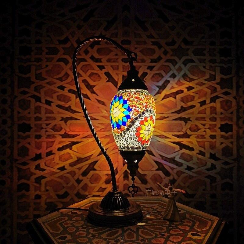 New Turkish mosaic swan table Lamp vintage art deco Handcrafted lamparas de mesa mosaicos Glass romantic bed light lamparas con