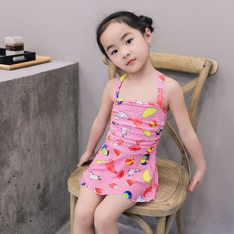 One-piece Swimsuit For Children Girls Boxer Skirt Children Big Kid Princess Dress Graffiti Swimwear Women's Xh544