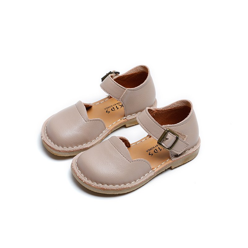 Baby Fashion Leather Shoes Cut Outs Kids Flat Sandals Girls