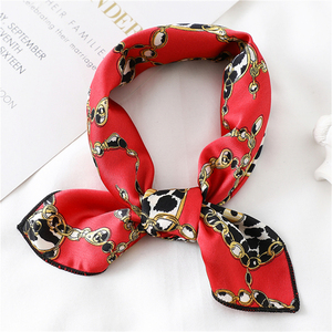 Image 3 - New 2020 small women scarf fashion summer silk scarves square Elegant Head Neck Feel Satin Scarfs Skinny Retro Hair Tie Band