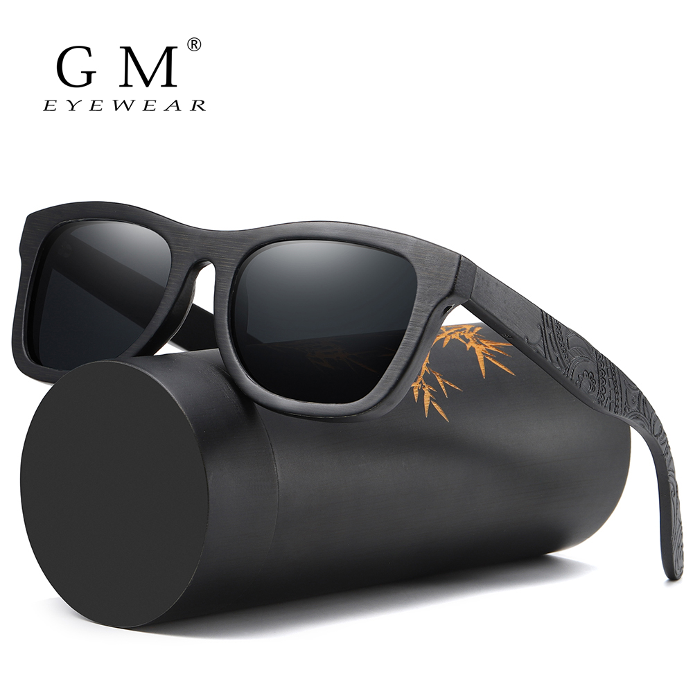GM Wood Sunglasses Men Brand Designer Polarized Driving Bamboo Sunglasses Wooden Glasses Frames Oculos De Sol Feminino S1610B