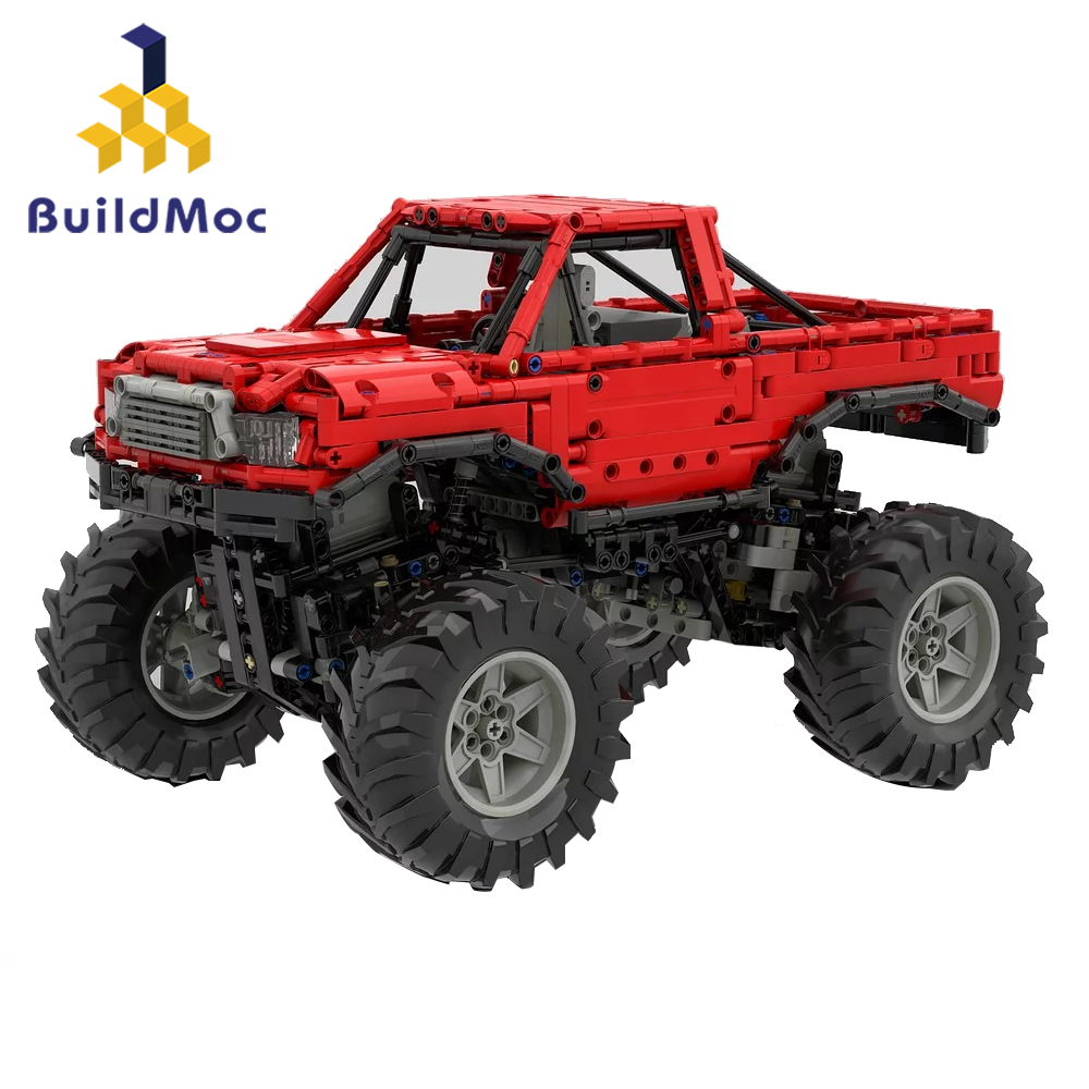 Грузовик Monsters Bigfoot Technic, внедорожник, радиоуправляемая Автомобильная модель, автоматический дифференциал, блокировка, строительный блок, Сп