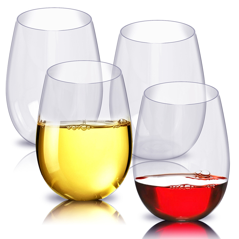4pc/Set Shatterproof Plastic Wine Glass Unbreakable PCTG Red Wine Tumbler Glasses Cups Reusable Transparent Fruit Juice Beer Cup