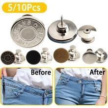 5/10Pcs Metal Snap Fastener Press Stud Jeans Retractable Buttons Detachable Universal Adjustable Pants Button Extender for Jeans