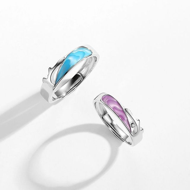 Фото leouerry enamel craft coral sea shape couple rings for women
