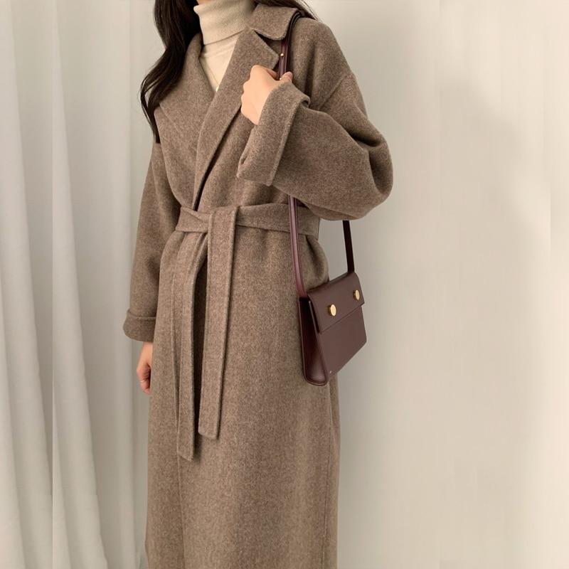 Femmes Coréennes Hiver Long Manteau vêtements d'extérieur Manteau Lâche grande taille Cardigans Manche Longue Manteau Femme manteaux Élégants