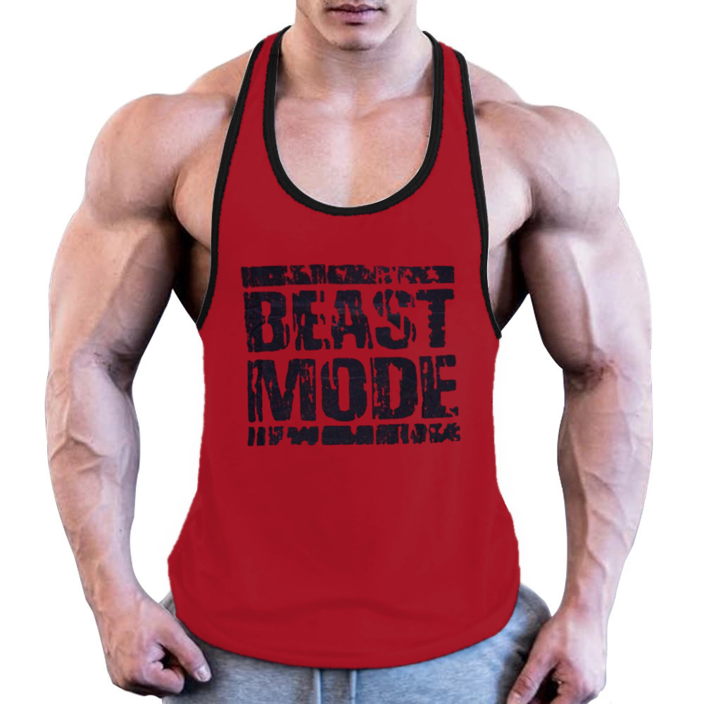 Men's Gym High Quality 80% OFF Clear Inventory Workout Bodybuilding  Tank Top Fitness Muscle Fit Stringer Printed